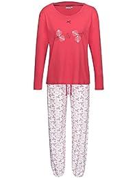 Damen Schlafanzug Pyjama lang aus 100% Baumwolle Gr. S M L XL