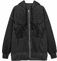 Women Hip Hop Streetwear Hoodies Women Jacket Angel Dark Print Jacket Coat Goth Harajuku Y2k Clothes Punk Jack