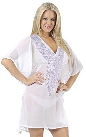 La Leela super léger pure mousseline profonde du cou maillot de bain brodé maillot de bain des femmes occasionnels 4 en 1 plage bikini couvrent tunique loungewear robe de base mauve