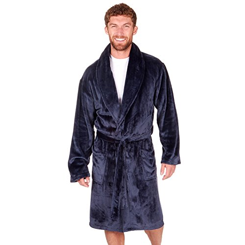 ClothingLogic Herren Morgenmantel blau navy XXX-Large Gr. XX-Large, navy (Robe Silk Sheer)