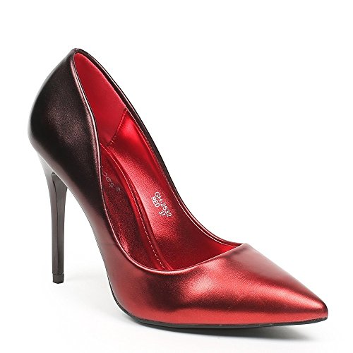Ideal Shoes – Escarpins madreperla Vaneli Rosso