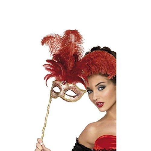 NET TOYS Venedig Maske mit Federn Ballmaske Rot gold Augenmaske Venezianische Maske Stabmaske Karneval ()