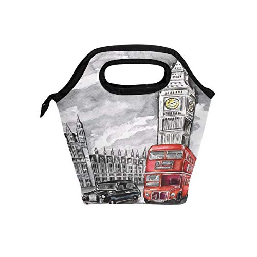 London Big Ben Isolierte Thermal Lunch Kühltasche Tote Bento Box Handtasche Lunchbox mit Reißverschluss für Schulbüro Picknick ()