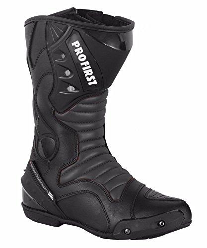 ProFirst Split Leder Wasserdicht Motorrad Motorrad Gepanzerte Stiefel Stiefel Schuhe Anti-Rutsch Rennsport | Schwarz / Black, EU 43 - 3