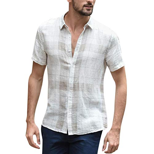 UINGKID Herren T-Shirt Kurzarm Slim fit Baggy Cotton Linen Plaid Button Retro Umlegekragen Shirts -