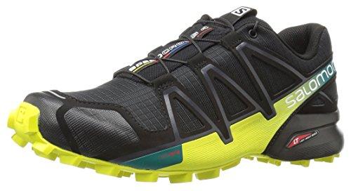 Salomon Speedcross 4, Chaussures de Trail Homme, Bleu Multicolore (Black/everglade/sulphur Sp)