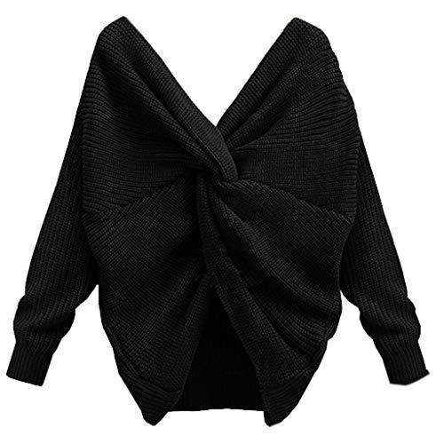 Runrainwomen sexy profondo scollo a V posteriore intrecciata, maglione, pullover manica lunga a maglia top nero Nero S