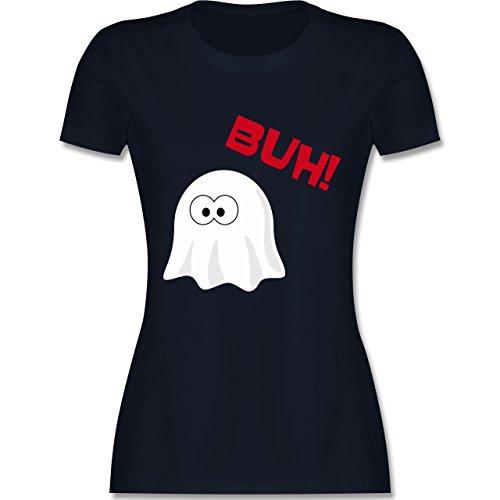 Halloween - Kleiner Geist Buh süß - tailliertes Premium T-Shirt mit Rundhalsausschnitt für Damen Navy Blau