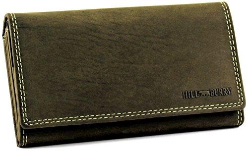 Hill Burry Wildleder Damen Portmonee | Edle Geldbörse aus hochwertigem Echt-Leder | Designer Portemonnaie mit vielen Kartenfächern | (Grün) (Wildleder Designer-tasche Grüne)