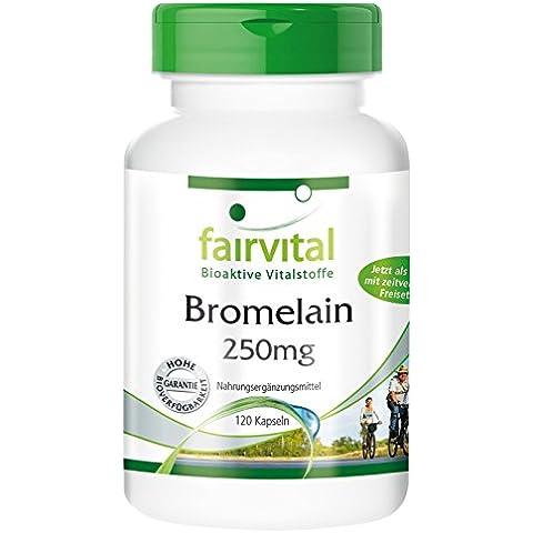 Fairvital - Bromelina 250mg - 120 DRcap® acido resistenti - sostanza pura - vegetale - (Bromelina Naturali)