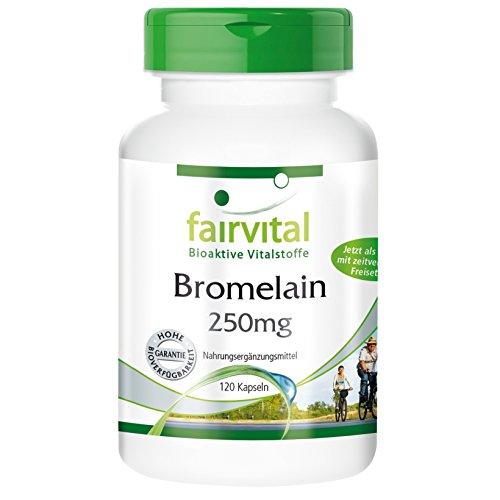 Bromelain 250mg, vegan, natürlich, ohne Magnesiumstearat, 120 säureresistente DRcaps®, 2400 F.I.P. pro Tagesdosis, Bromelain Kapseln - unterstützt die Verdauung und das Immunsystem