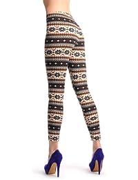 Beige, Black & Brown Aztec Jacquard Knit Print - Multicolore Opaque Leggings (Collants Sans Pied) Taille Unique (32-38)