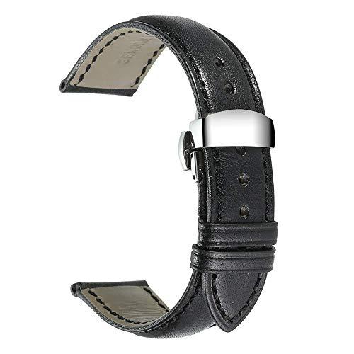 Cobar Cuero Genuino Correa de Reloj con Acero Inoxidable Corchete de la Mariposa Banda de Reloj Correa de Repuesto - 18mm, 20mm or 22mm - Choose Color & Width