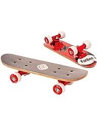 Funbee - Mini skate en madera 17 pulgadas rojo ruedas pvc 50x36mm (Darpeje OFUN247R)