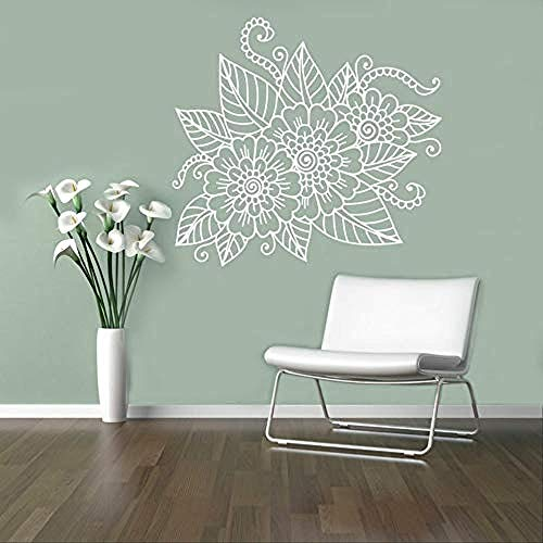 Adesivo da parete floreale astratto vinile applique henné gioielli indiani adesivo da parete decorazioni per la casa 62x57cm