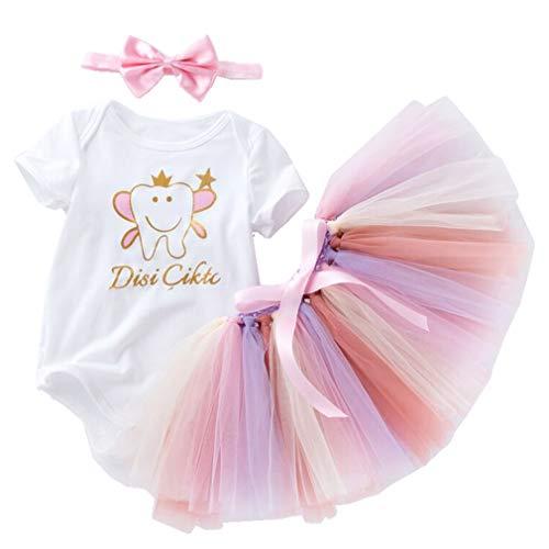 3 Stück Baby Mädchen Tutu Kleid Prinzessin Outfits Set Romper+Rock Tütü+Stirnband ()