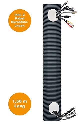 Kabelkanal Set | 150 cm lang | Unterputzkabelkanal, Multimediakanal, Unsichtbare Kabeldurchführung, Multimedia-Rohr, TV ohne Kabel, Elektro-Installationsrohr