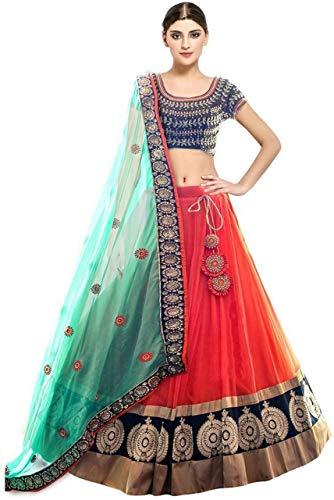 BRAND JUNCTION SOFT NET SEMISTICHED EMBRODERED LAHANGA CHOLI WITH DUPATTA (KAYA FENTA)