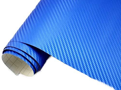 Neoxxim 4,60€/m2 Premium - Auto Folie - 3D Carbon Folie - BLAU METALLIC 200 x 150 cm - blasenfrei mit Luftkanälen ca. 0,16mm dick