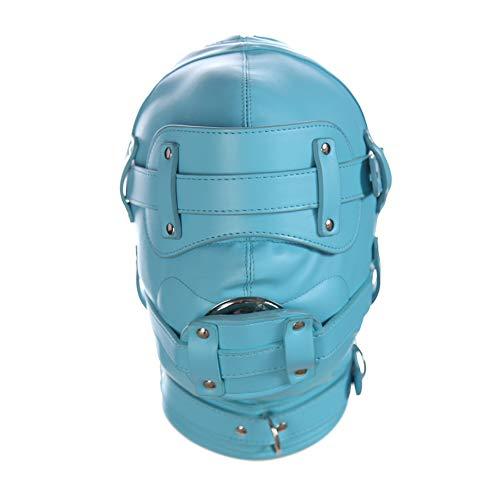 m Maske Kapuze Abschließbar Mit Augenbinde Mund Dildo Gag Kopfbedeckung Fetisch SM Bondage Fesseln Für Paare Flirten,Blue ()