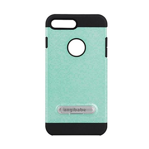 GR Angibabe Color Lattice Texture TPU + PC Schutzhülle mit Halter für iPhone 7 Plus ( Color : Black ) Green