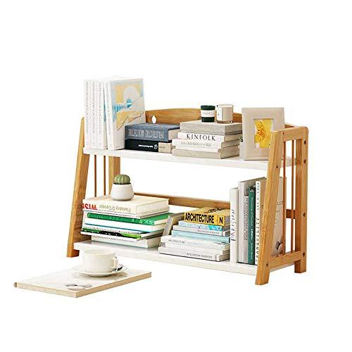 Librerie YANFEI, Mensola in bambù, scrivania per Studenti, Doppio ripiano, Colore Legno (2 Dimensioni) (Dimensioni : 53 * 22.5 * 42cm)