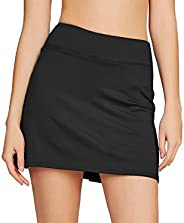 Cityoung Women's Athletic Pleated Golf Skirt with Shorts Pockets Running Tennis Workout Skorts, Blac