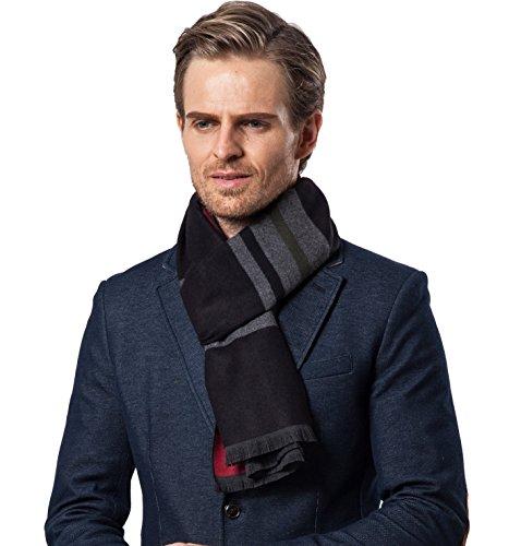 Bufanda Hombre clásico invierno de Super Soft largo de la borla tela escocesa de la bufanda de rayas...
