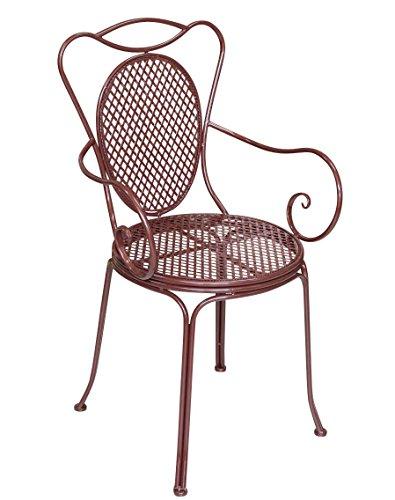 aubaho Bistrostuhl Metall Antik-Stil Armlehnstuhl Gartenstuhl Garten Bistro Stuhl braun