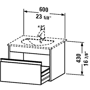 "Mueble de pared, 1cajón, 193/4""x 235/8"", grafito mate"