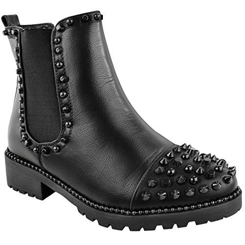 Fashion Thirsty Womens Ladies Spike Studded Chunky Ankle Boots Biker Goth Punk Black Grunge Size - Studded Schuh Stiefel