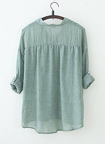 BININBOX Damen bequeme Leinen Bluse Hemd V-Ausschnitt Stehkragen 3/4-Arm Leinenbluse Langarm-shirt (4 Farben) Grün