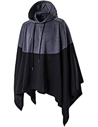 HDH Man Punk Hooded Jacket Black Mixed Gray Hoodie Poncho Coat Sweater Pullover Jumper Top