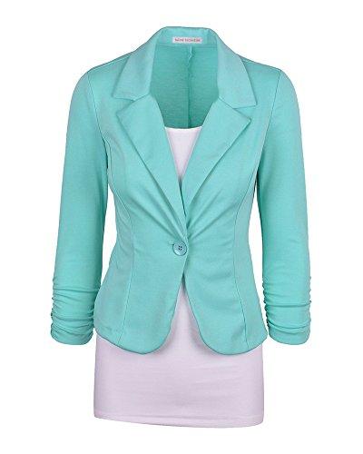 Donna Maniche Lunghe Cardigan Breve Blazer Cappotto Coat Jacket Giacca Outwear Azzurro Chiaro