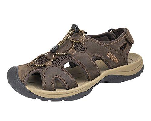 SK Studio Homme Fermées Sandales en Cuir Outdoor Chaussures de Marche Sandales a Scratch Marron Foncé