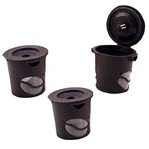 Ezyoutdoor 3 pack Reusable Coffee Tea Filter Cup Set for Keurig, My K-cup style, 3 Filters , Fits B30, B31, B40, B41, B60, B70, K40, K45, K65, K75 Series, Brown