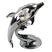 Crystocraft Chrome Plated Dolphin Ornament With Crystal From Swarovski®