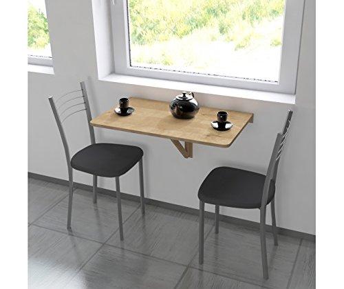Büro-klapptisch (Abnehmbarer Tisch Massivholz für Aufhängen in Walnuss, Maße 80cm x 50cm)