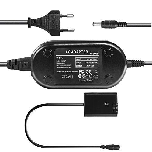 Netzteil mit Akkuadapter ersetzt AC-PW20 für Sony Alpha 3000, 5000, 6000, NEX-C3, NEX-6, NEX-5T, NEX-5K, Cybershot DSC-RX10 - 7,6V 2A