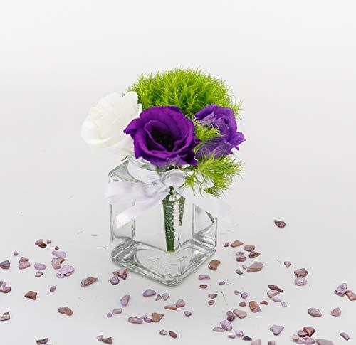 casa-vetro 12 x kleine Mini Vasen Set eckig-120 ml Glas klar Deko Blumen-Vase Hochzeit (12 x Schleife-Weiss)