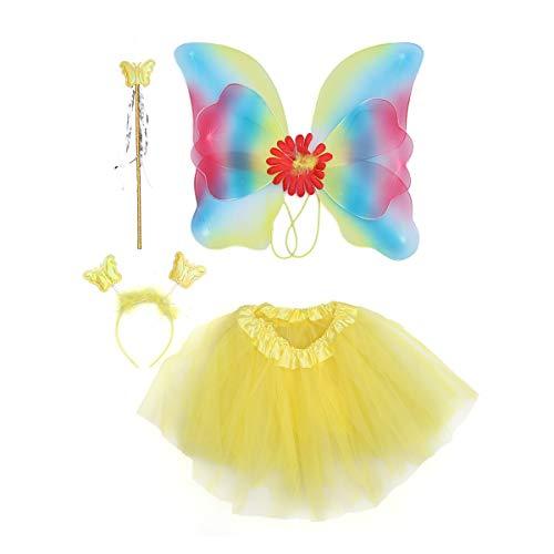 BESTOYARD Mädchen LED Fee Kostüm Set Tutu Rock mit Schmetterlingsstab Flügel Stirnband und Fairy Fancy Dress-up Outfit Party Gefallen für Halloween Geburtstag Cosplay Party, 4er Pack (Für Led-halloween-kostüm Kleinkind)