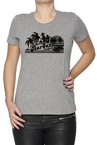 Santa Barbara Beach Donna T-shirt Grigio Cotone Girocollo Maniche Corte Grey Women's T-shirt