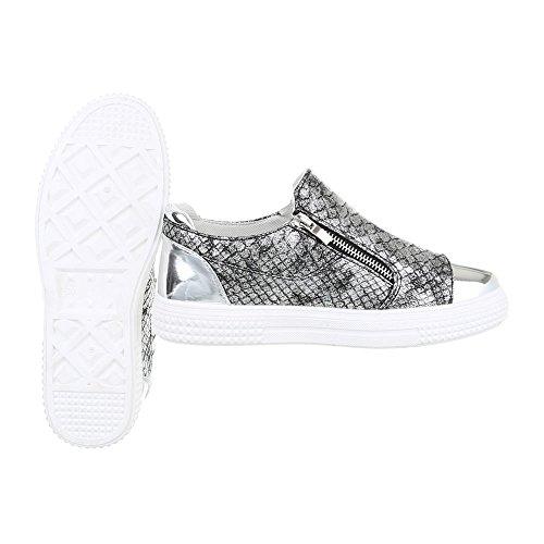 Sneaker Ital-design Sneaker Da Donna Scarpe Basse Sneakers Basse Con Cerniera Scarpe Casual Grigio Argento