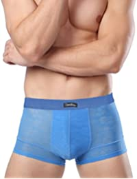 SEVENWELL Hombres Soft Ice Silk Hollow Out Calzoncillos Boxer Ultrafino Sólido Stretch Boxer Ropa Interior FugKjs