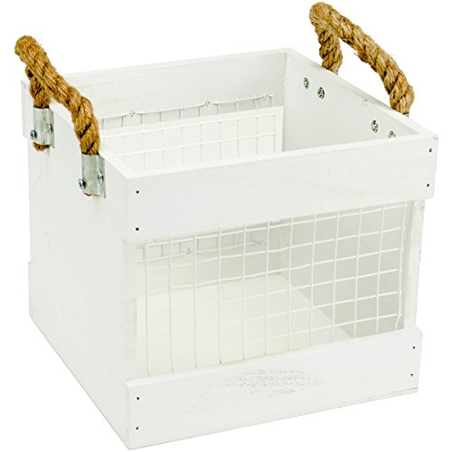 Hampton Holz (Hampton Art Mix Das Media Holz Chickenwire Box mit handles-white, 7.75-inch X 7.75-inch)