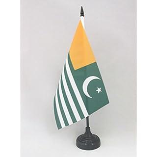 AZ FLAG AZAD KASHMIR TABLE FLAG 5'' x 8'' - AJK FREE KASHMIR DESK FLAG 21 x 14 cm - Black plastic stick and base