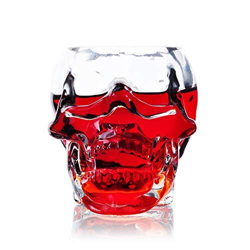 ZUEN Schädel Gesicht Bierkrug Trinkgläser, Schädel Kopf Schnapsglas Spaß Kreative Designer Kristall Party Wein Tasse Transparente Bier Steins, 350ml -