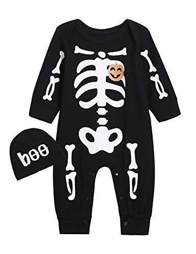Catpapa Baby Jungen Halloween Kürbis Strampler Totenkopf Skelett Kostüm Overall mit Mütze Gr. 6-12 Monate, Schwarz