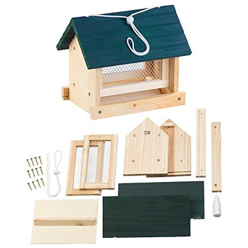 Royal Gardineer Vogelfutterhaus: Vogel-Futterhaus-Bausatz, mit Silo, Echtholz, zum Aufhängen, 11-teilig (Vogelhäuser)