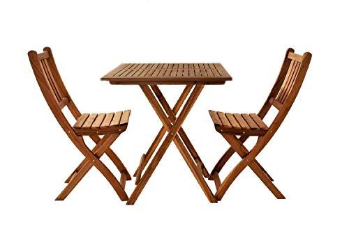 garten holzmoebel SAM® Gartengruppe, 3tlg, Balkongruppe aus Akazienholz, FSC® 100% zertifiziert, 1x Tisch + 2x Stuhl, geölt, Garten-Gruppe